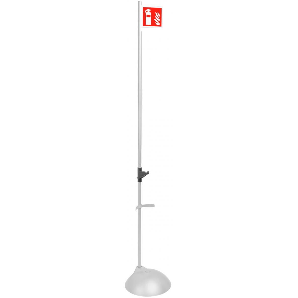 Βάση Επιδαπέδια Πυροσβεστήρα ασημί με πλαστική βάση και σήμα ένδειξης θέσης