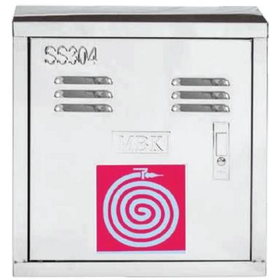 Ανοξείδωτη Πυροσβεστική Φωλιά ΙΝΟΧ 304, λάστιχο 20m ½'', ακροφύσιο 400 x 400 x 140 mm